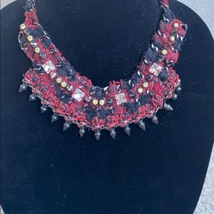 Cloth and Studded  statement necklace